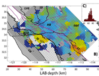 Lithospheric thickness across Southern California.