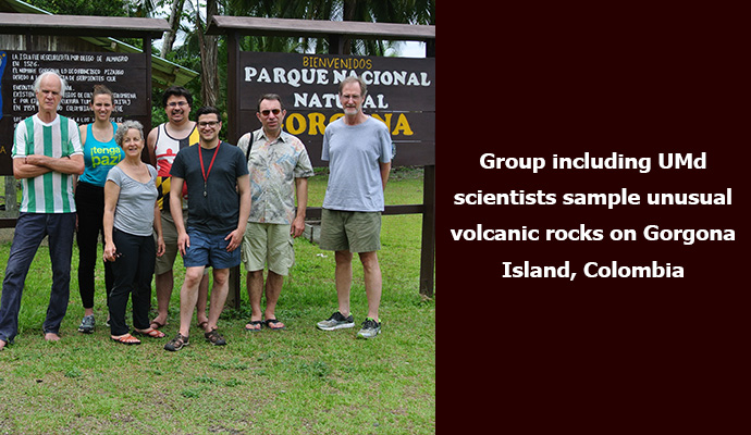 Group including UMd scientists sample unusual volcanic rocks on Gorgona Island, Colombia.
