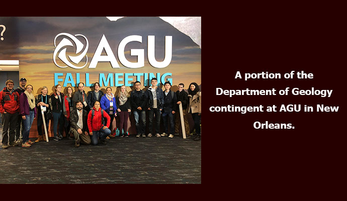 A portion of the Department of Geology contingent at AGU in New Orleans.