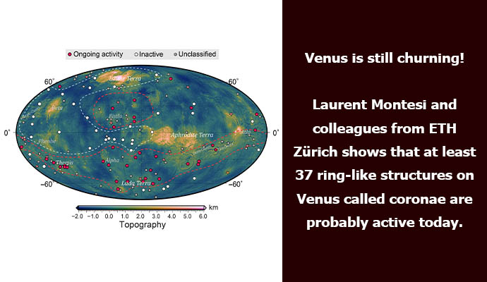 Venus is still churning! Laurent Montesi and colleagues from ETH Zürich shows that at least 37 ring-like structures on Venus called coronae are probably active today.