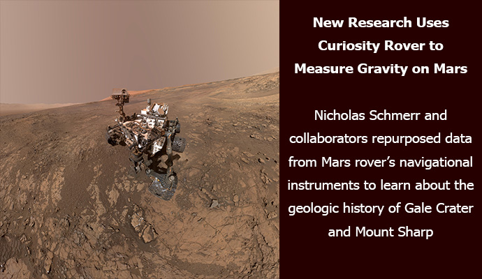 New Research Uses Curiosity Rover to Measure Gravity on Mars: UMD geologist Nicholas Schmerr and collaborators repurposed data from Mars rover's navigational instruments to learn about the geologic history of Gale Crater and Mount Sharp