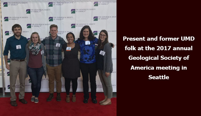 Present and former UMD folk at the 2017 annual Geological Society of America meeting in Seattle